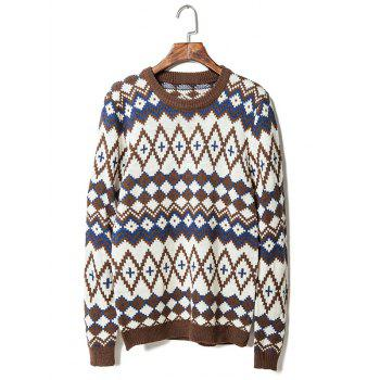 Geometric Pattern Round Neck Long Sleeve Men's Sweater