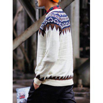 Ethnic Style Geometric Pattern Round Neck Long Sleeve Men's Sweater - WHITE XL