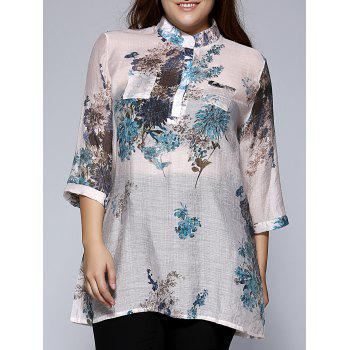 Oversized Ethnic Stand Collar Floral Print Blouse