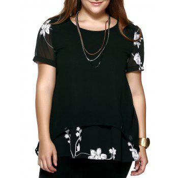 Crochet Floral Plus Size Blouse - BLACK 4XL