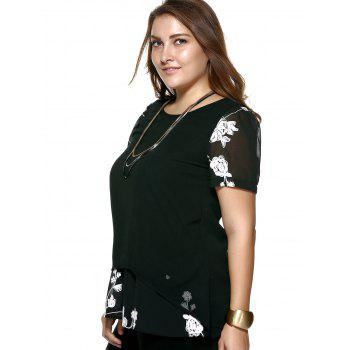 Crochet Floral Plus Size Blouse - BLACK XL
