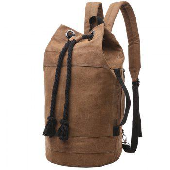 Concise Canvas and Drawstring Design Men's Backpack - COFFEE COFFEE
