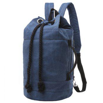 Concise Canvas and Drawstring Design Men's Backpack - DEEP BLUE DEEP BLUE