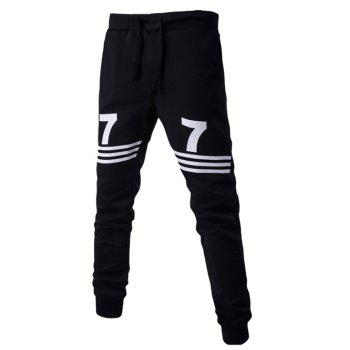 Stripe and Number Print Lace-Up Beam Feet Men's Pants