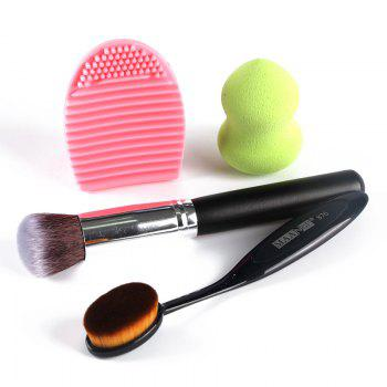 Professional 4 Pcs/Set Blush Brush + Foundation Brush + Gourd Makeup Sponge + Brush Egg -  COLORMIX