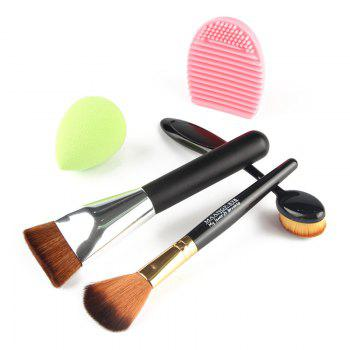 Professional 5 Pcs / Set Blush Brush + Foundation Brush + Flat Contour Brush + Beauty Blender + Brush Egg - multicolorcolore