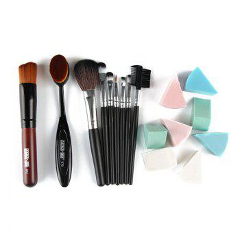 Professional 7 Pcs Nylon Makeup Brushes Set with Brush Bag + 2 Pcs Foundation Brush + Powder Puffs - BLACK