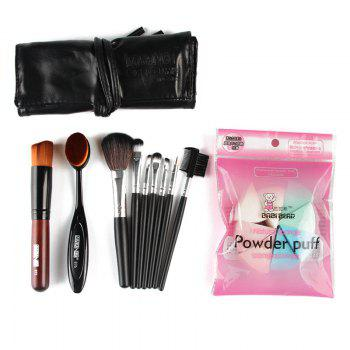 Professional 7 Pcs Nylon Makeup Brushes Set with Brush Bag + 2 Pcs Foundation Brush + Powder Puffs