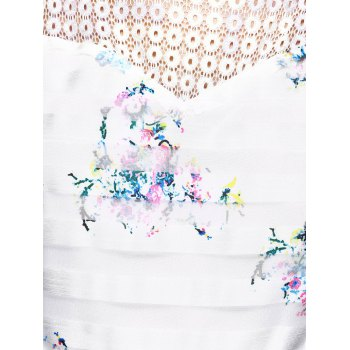 Sweet Striped Splicing Floral Dress - WHITE XL