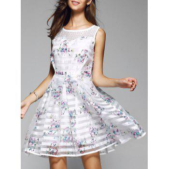 Sweet Striped Splicing Floral Dress
