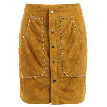 Vintage High-Waisted Pocket Design Rivet Embellished Packet Buttocks Women's Suede Skirt