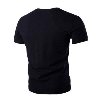 Breast Pocket Metal Star Embellished Round Neck Short Sleeve Men's T-Shirt - BLACK M