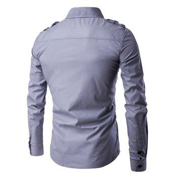 Turn-Down Collar Pockets Splicing Design Long Sleeve Men's Shirt - GRAY 2XL