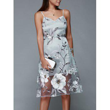 Spaghetti Strap Floral Dress Backless - [