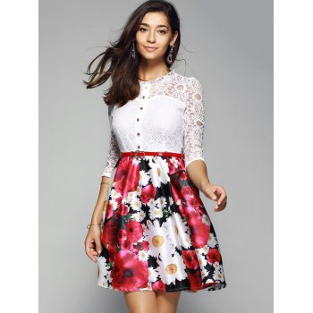Lace Spliced Floral Print Belted Dress - RED XL