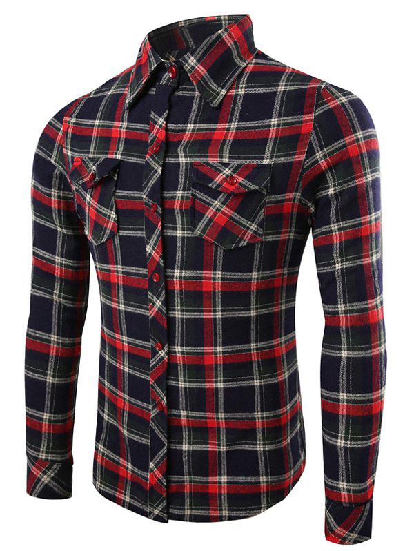 Tartan Pattern Pockets Design Turn-Down Collar Long Sleeve Men's Shirt - BLACK 2XL
