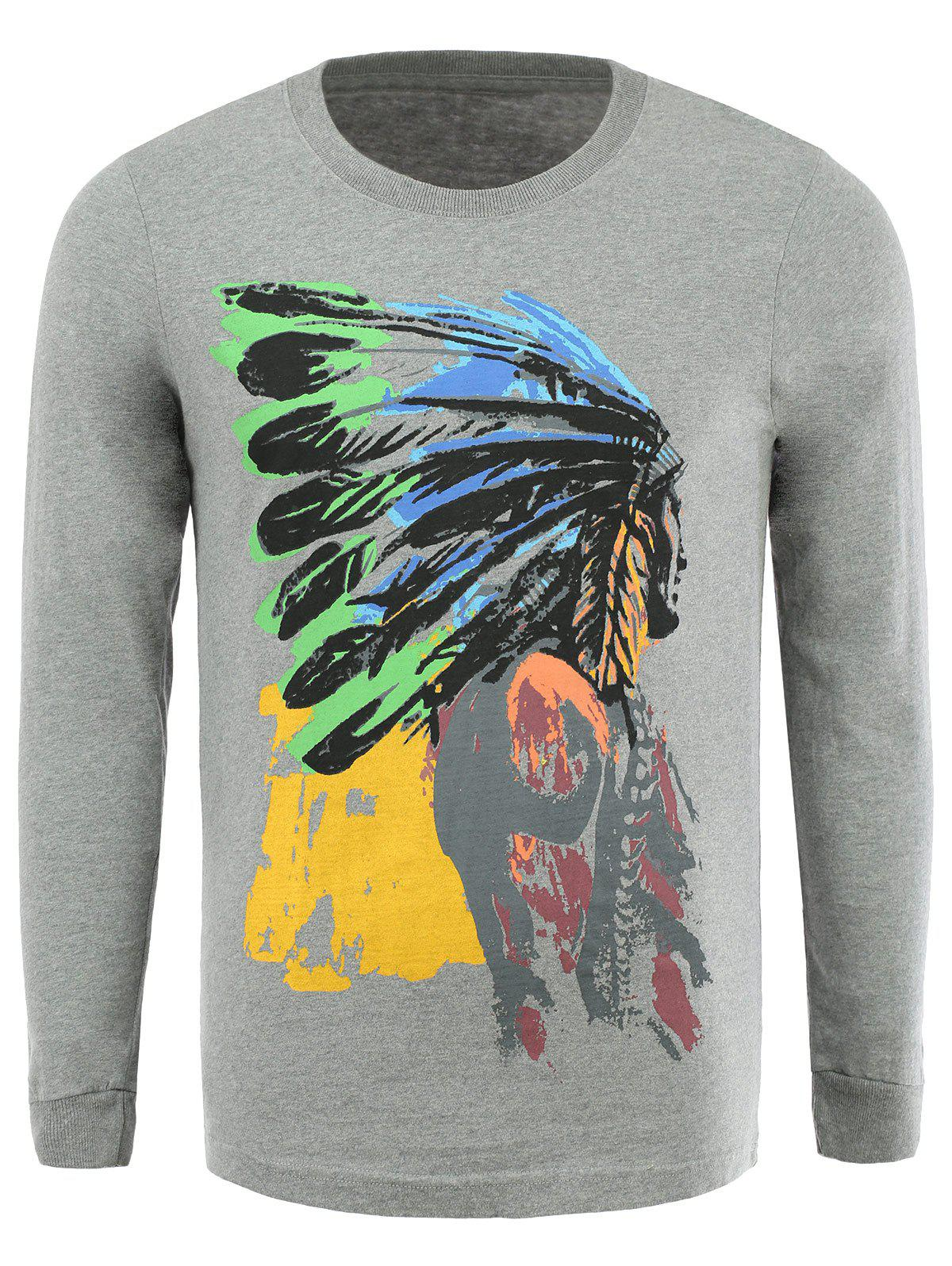 Cotton Blends 3D Vintage Indians Print Round Neck Long Sleeve T-Shirt - GRAY 3XL