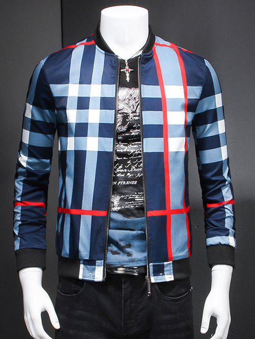 Fashion Plaid Ribbed Hem Long Sleeve Jacket For Men