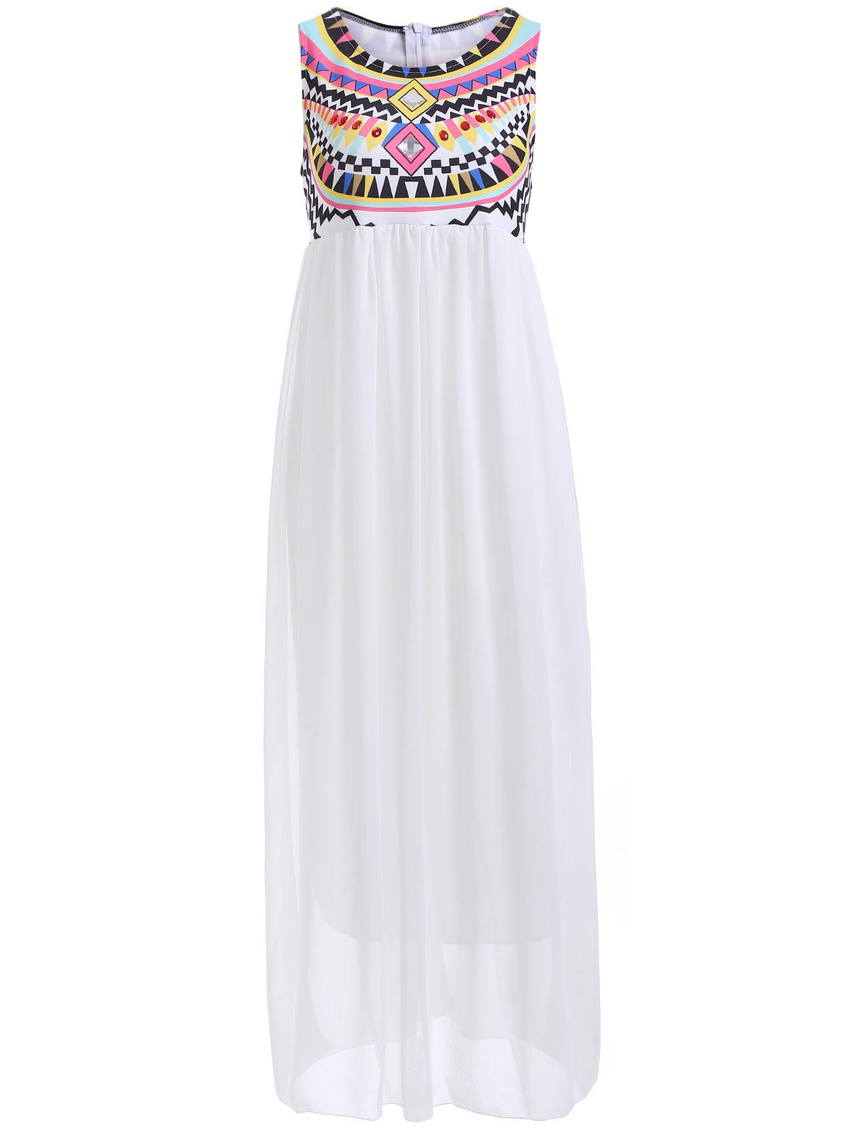 Bohemian Rhinestone Chiffon Casual Summer Maxi Dress - WHITE S