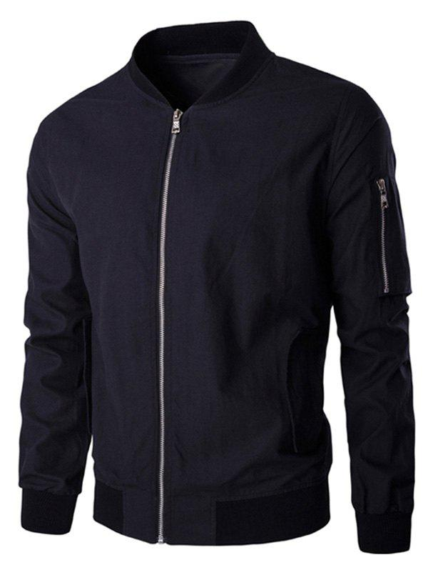 Pocket Design Zip Up Stand Collar Long Sleeve Men's Jacket - BLACK M