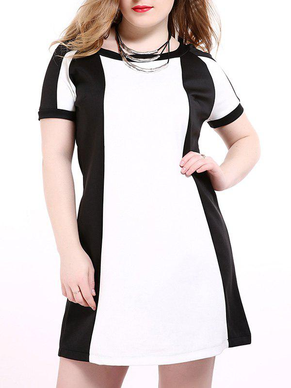 Oversized Western Style Hit Color Shift Dress - WHITE/BLACK 6XL