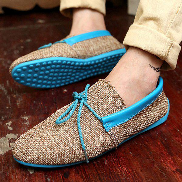 Stylish Tie Up and Linen Design Men's Casual Shoes - BLUE 43