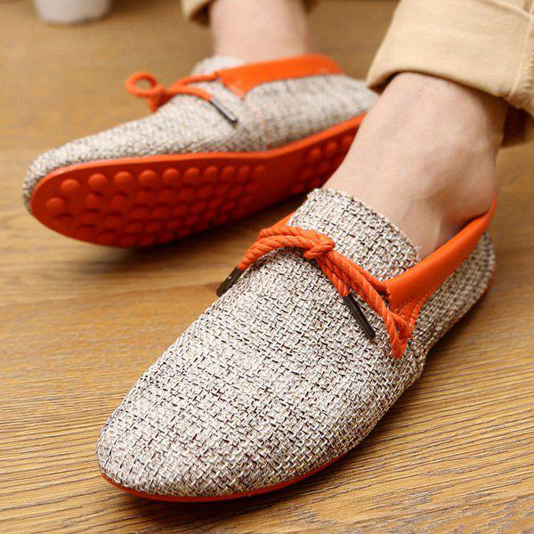 Stylish Tie Up and Linen Design Men's Casual Shoes - ORANGE 44