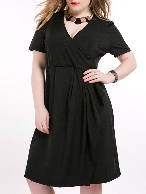 Plus Size Tie Side Surplice Dress - BLACK 7XL