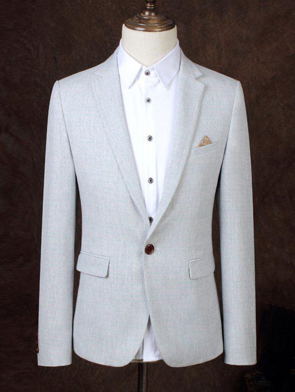 Lapel One Button Design Solid Color Men's Business Suit - LIGHT GRAY 3XL