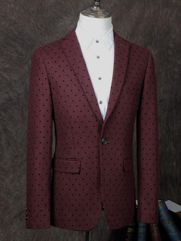 Lapel One Button Design Polka Dot Men's Business Suit - WINE RED 2XL
