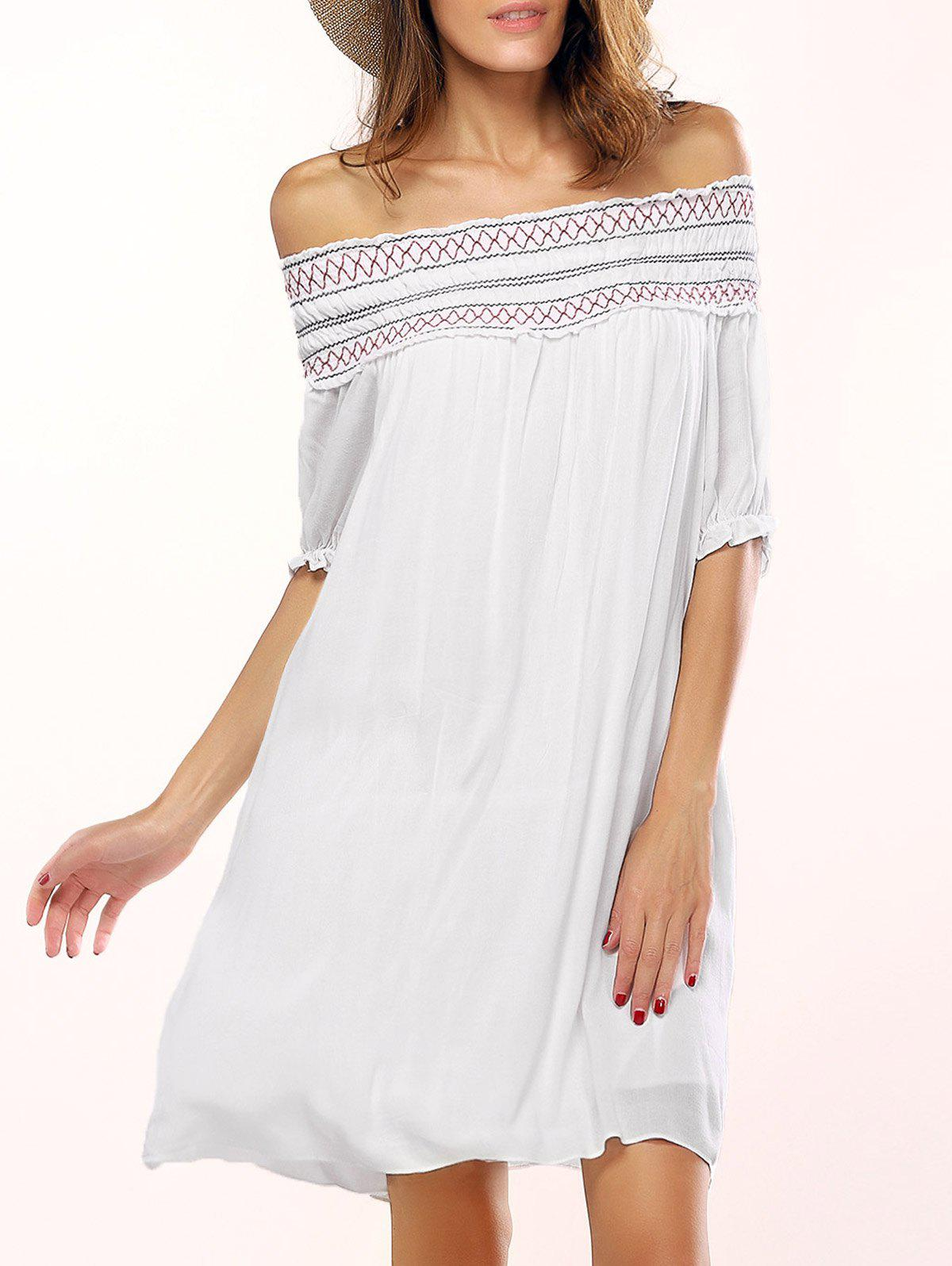 Off The Shoulder Geometric Embroidered Shift Dress - WHITE XL