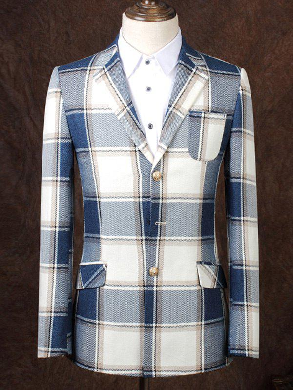 Lapel Single Breasted Design Checked Pattern Men's Business Suit - CHECKED 3XL