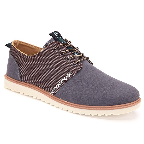 Trendy Colour Splicing and Tie Up Design Men's Casual Shoes - GRAY 43