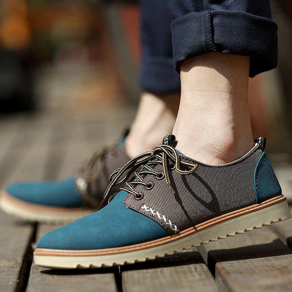 Trendy Colour Splicing and Tie Up Design Men's Casual Shoes - BLUE 42
