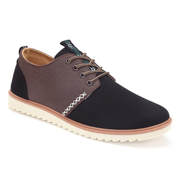 Trendy Colour Splicing and Tie Up Design Men's Casual Shoes - BLACK 43