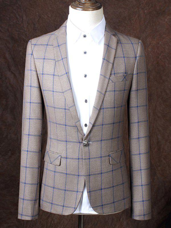 Lapel One Button Design Plaid Pattern Men's Business Suit - CHECKED 2XL