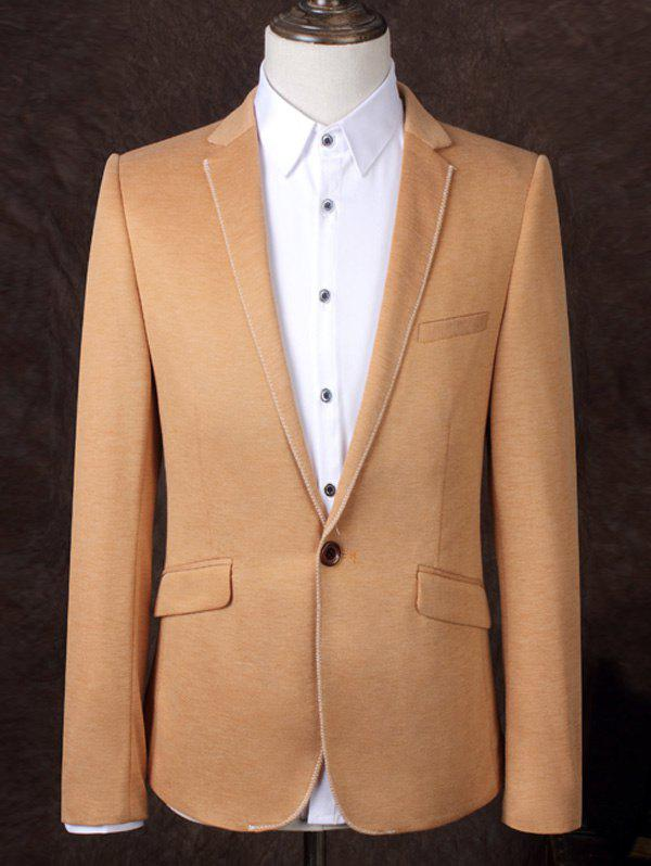 Lapel One Button Band Design Solid Color Men's Business Suit - ORANGE 3XL