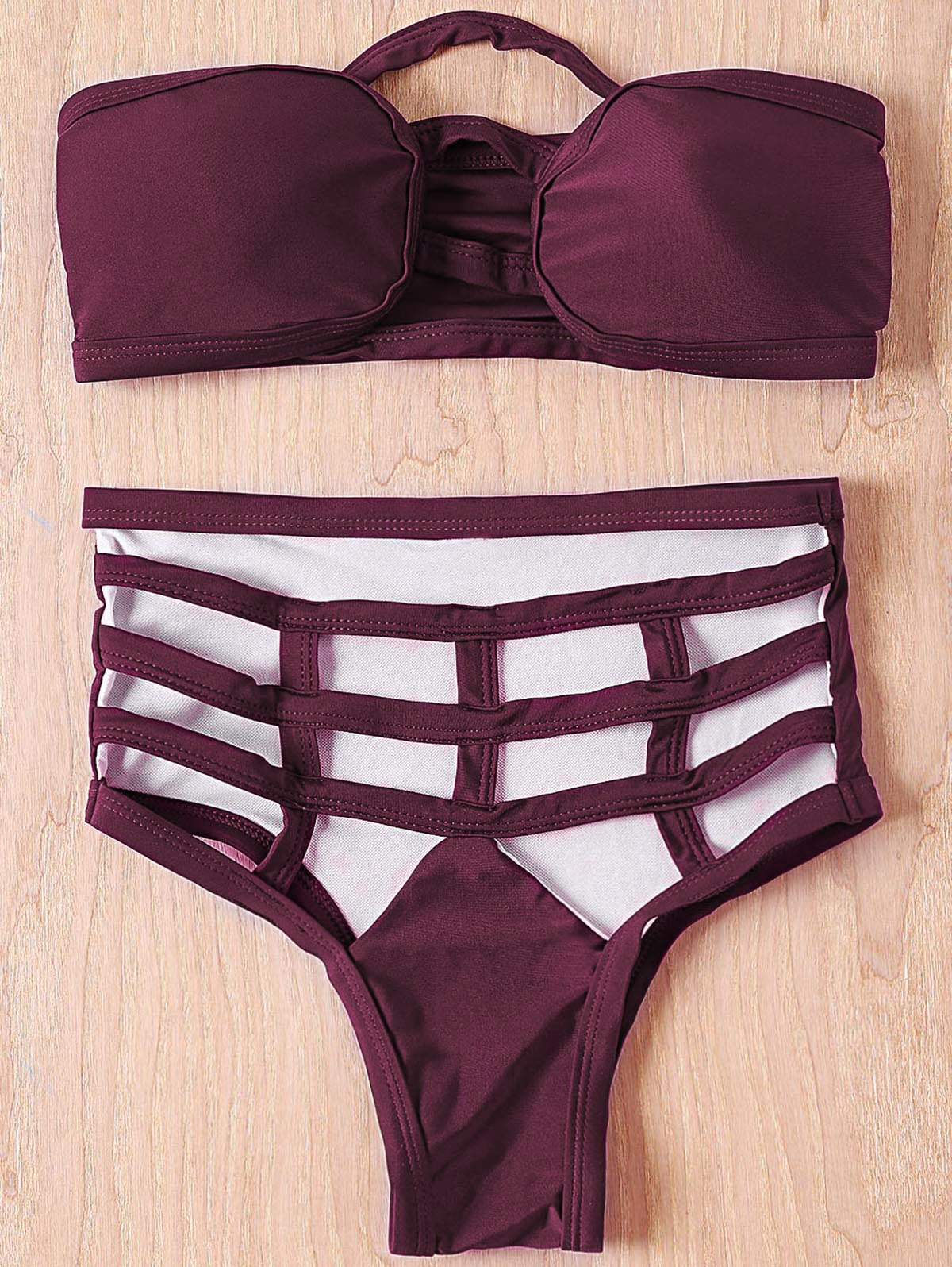 Chic Strapless Sleeveless Hollow Out Solid Color Women's Bikini Set - PURPLISH RED S