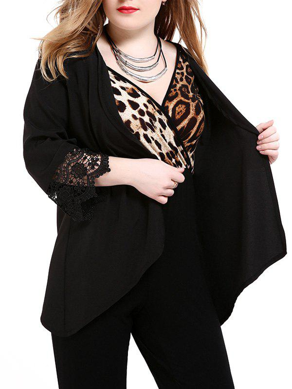 Plus Size Lace Trim Cardigan - BLACK 6XL