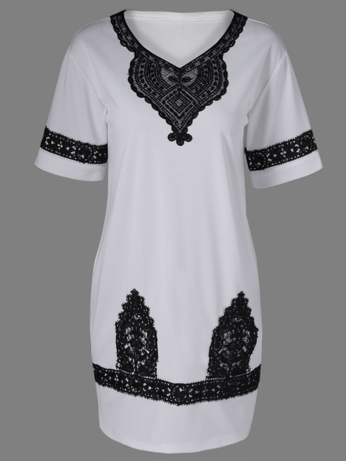 Ethnic Lace Splicing Hit Color Dress