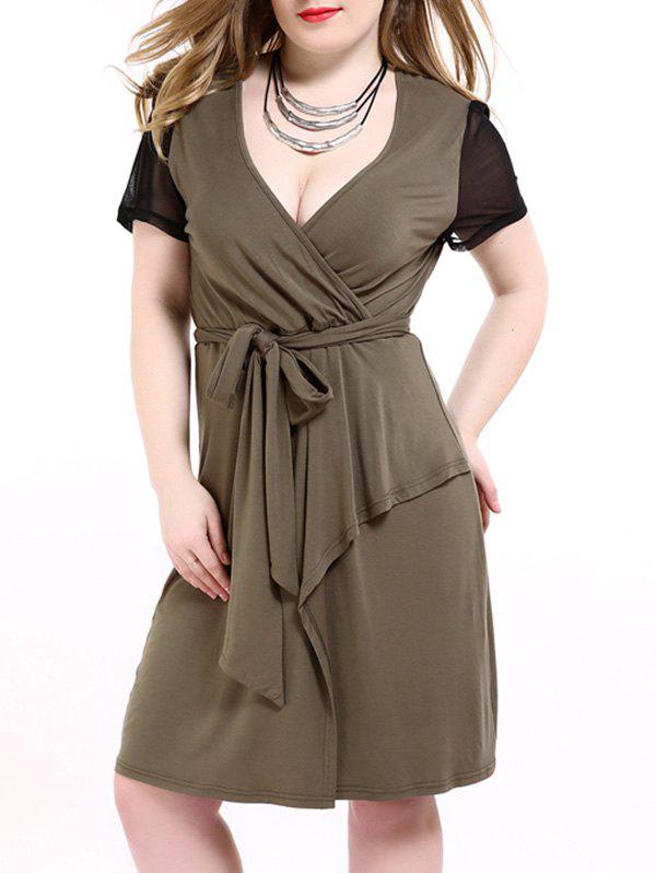 Plus Size Tie Front Overlap Surplice Dress - 6XL ARMY GREEN