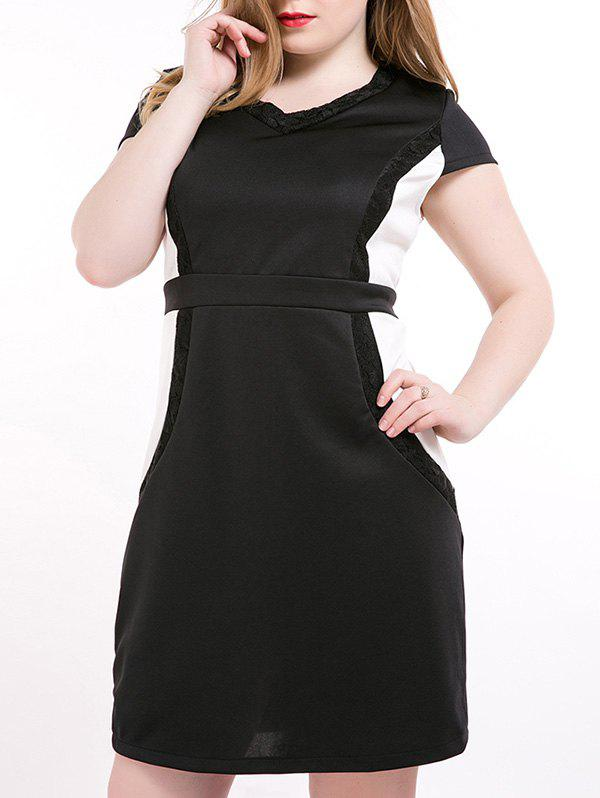 Oversized Chic Lace Splicing Hit Color Dress - BLACK 7XL