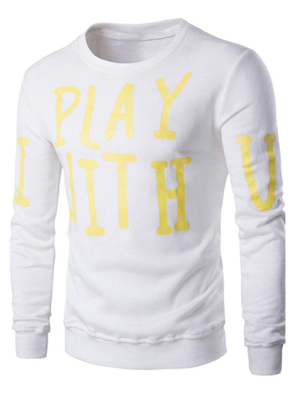 Letter Print Crew Neck Long Sleeve Men's Pullover Sweatshirt - WHITE 2XL