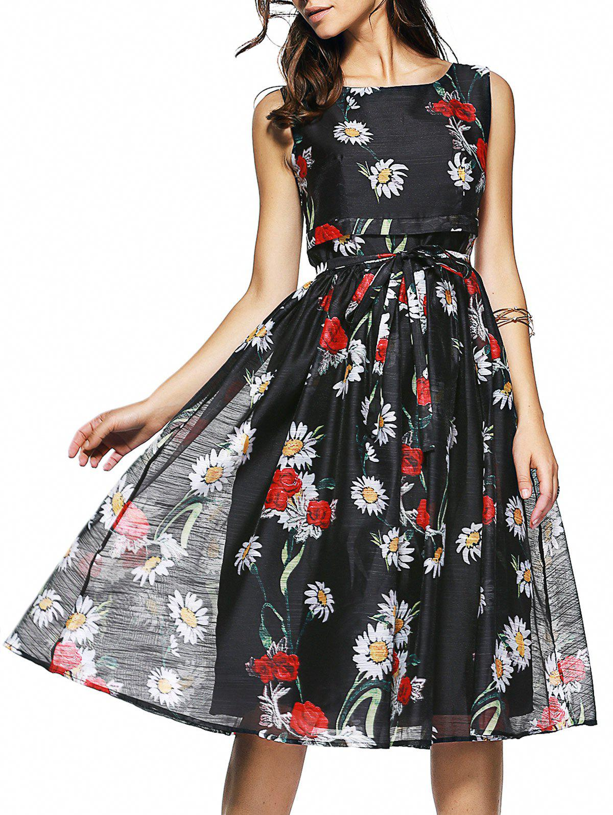 Floral Print Sleeveless Belt-Tie Women's Chiffon Dress