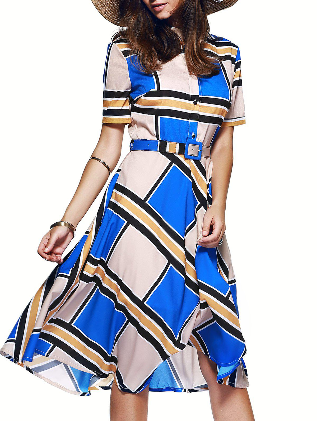 Color Block Tie Belt Buttoned Dress - BLUE XL