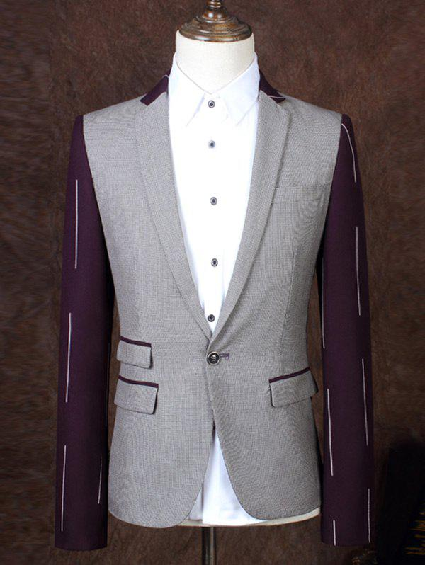 Lapel One Button Design Color Block Splicing Men's Business Suit - COLORMIX 3XL