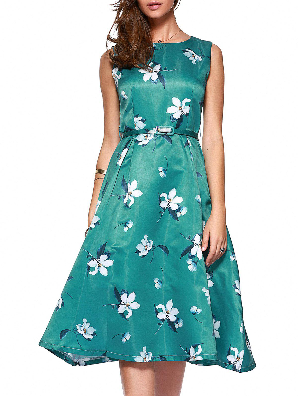 Sweet Women's Floral Print Belted Midi Dress - BLACKISH GREEN L