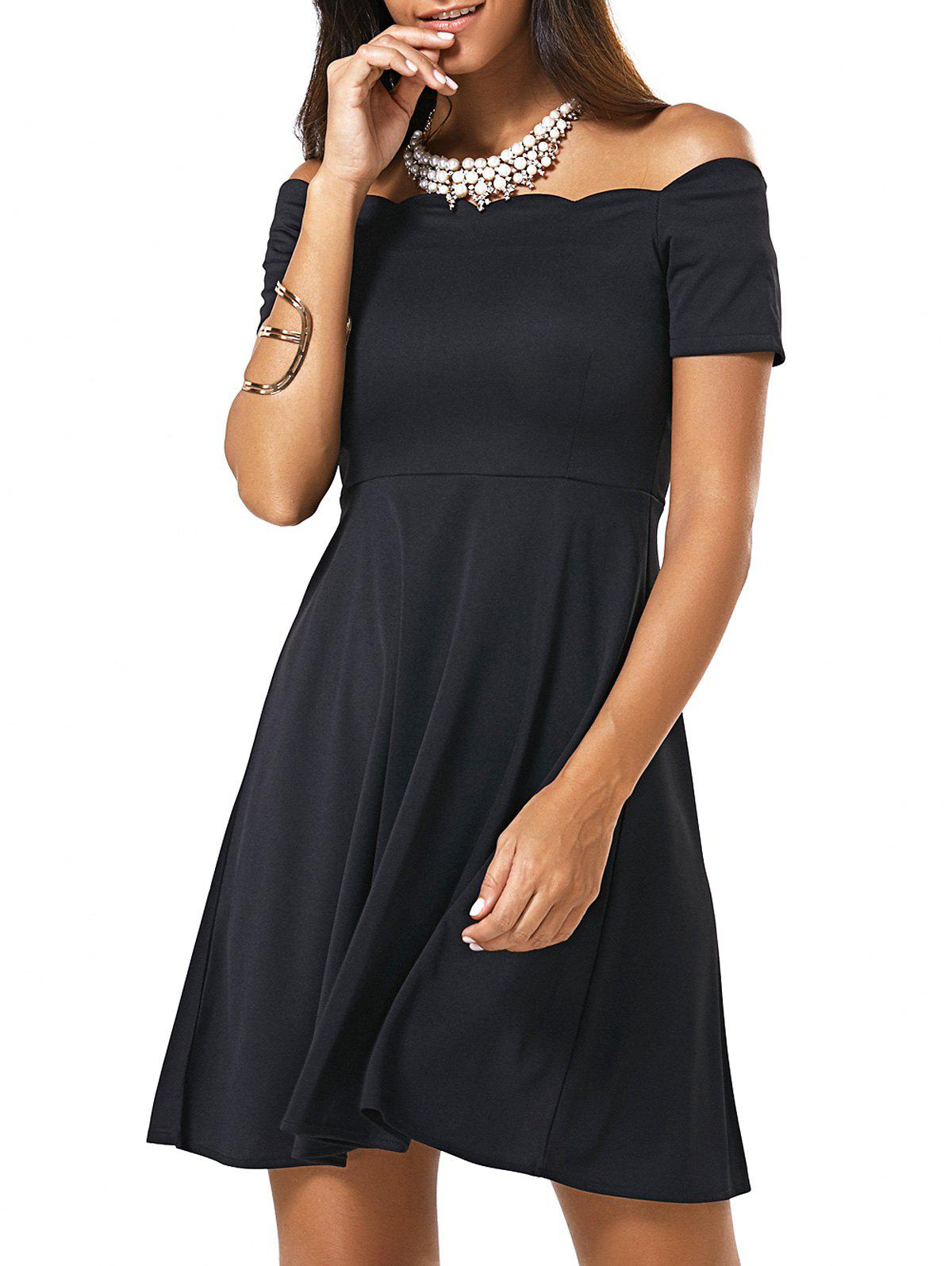 Stylish Women's Off The Shoulder Scalloped A-Line Dress - BLACK S