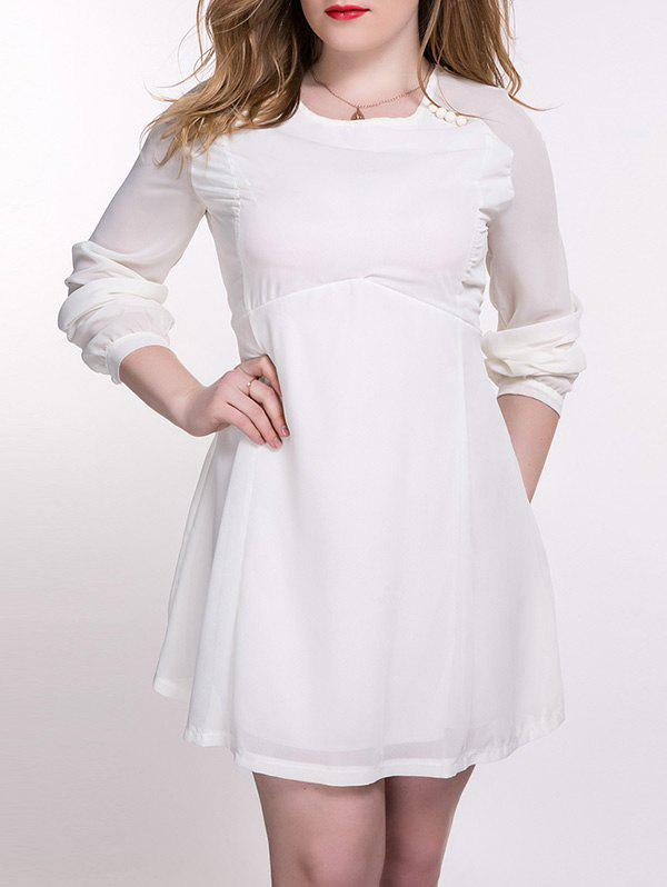 2018 Plus Size Chiffon Backless Long Sleeve Dress Off White Xl In