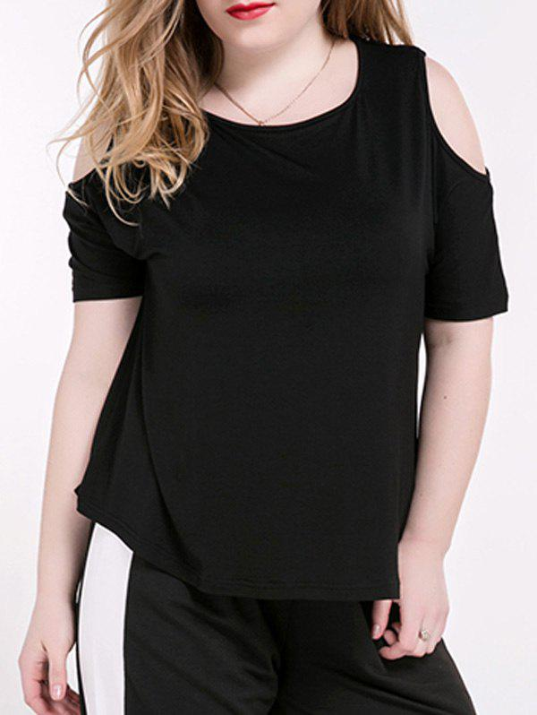 Plus Size Casual Cold Shoulder T-shirt noir - Noir 5XL